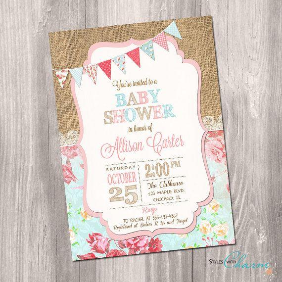 Shabby Chic Baby Shower Invitation Girl Baby Shower Invite