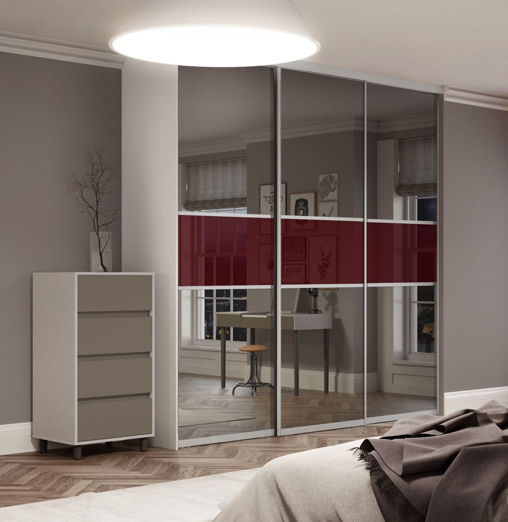 3 panel mirrored sliding closet doors - Premium Midi Fineline Sliding Wardrobe Doors In Mirror And Maroon Glass With Satin Silver Frame