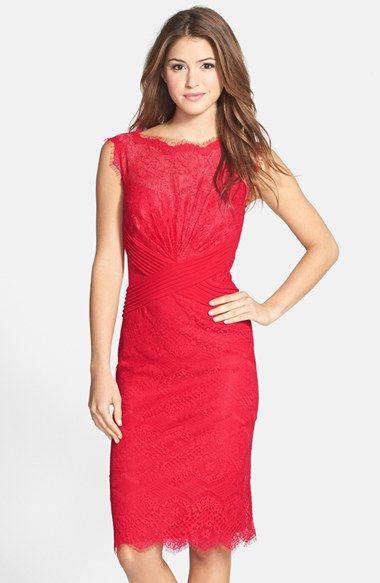 Free shipping and returns on Tadashi Shoji Lace Sheath Dress (Regular    Petite) at Nordstrom.com. Pleated mesh bands crisscross the waist of a jewel-toned  ... ab9b8d0f5392