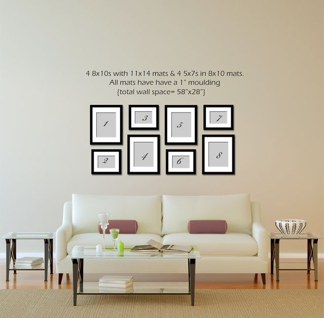 4 8x10 4 5x7 Gallery Wall Living Room Gallery Wall Display Ideas Photo Wall Display Living room gallery wall layout