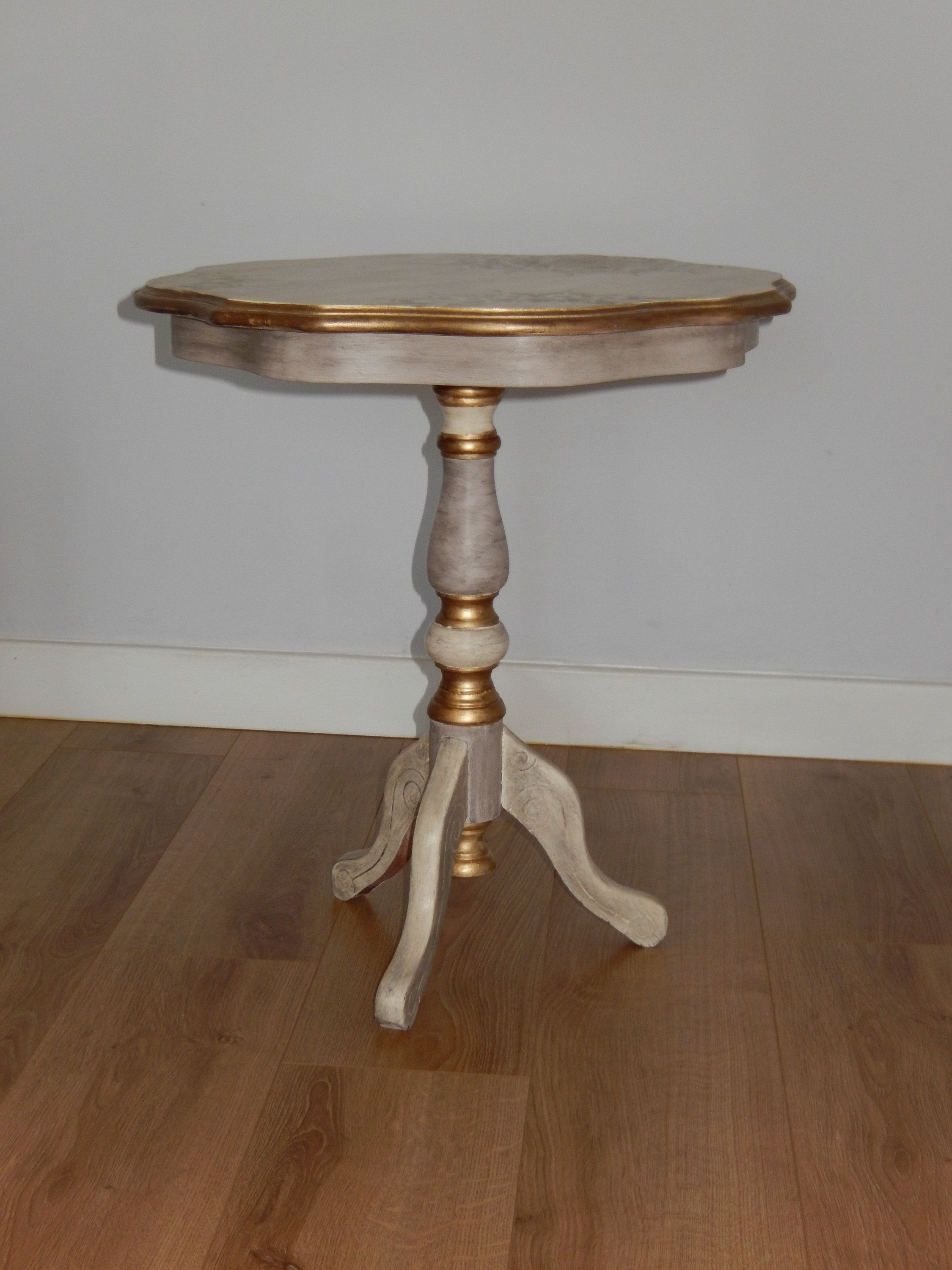 Classy round cream pedestal sidecoffee table with hessian