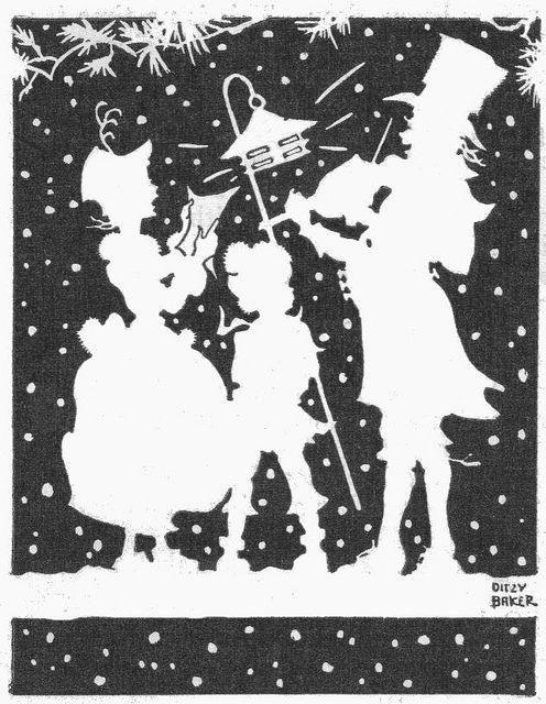 Christmas carolers silhouette