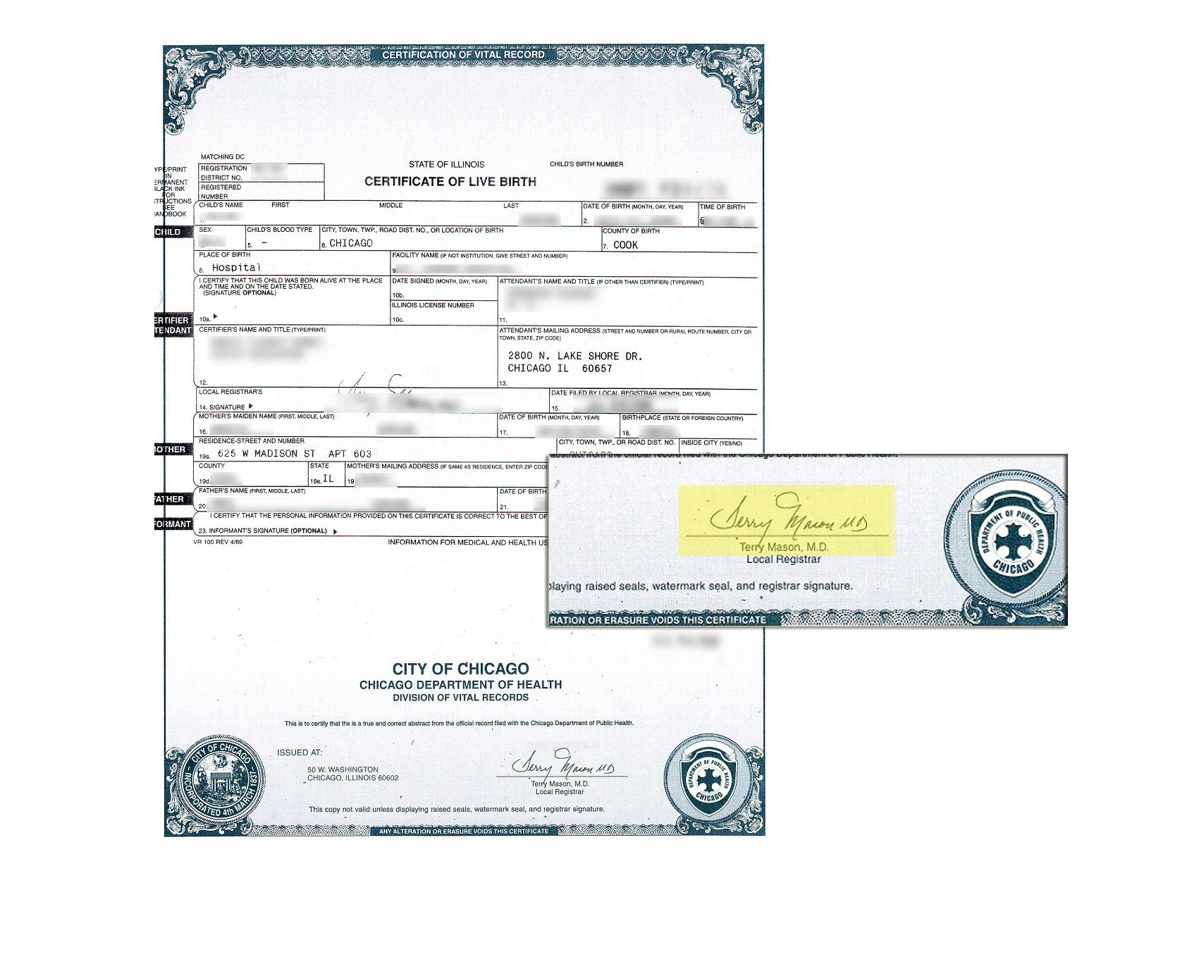 City Of Chicago County Of Cook Illinois Birth Certificate Signed