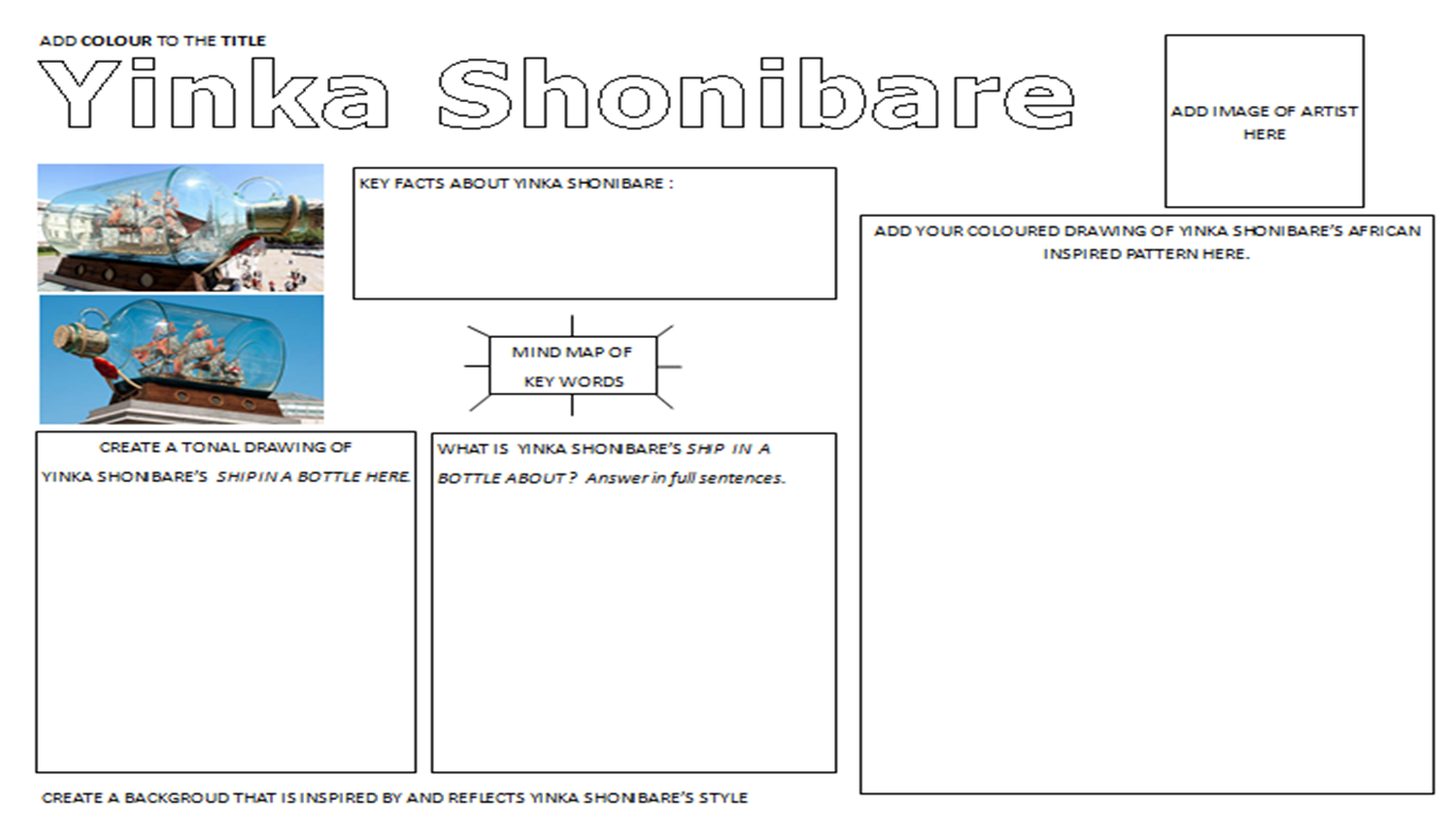 Yinka Shonibare Artist Research Worksheet And Layout