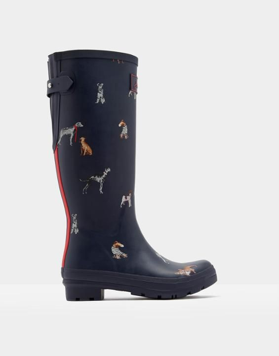 ajusta adjustable back gusset printed rain boots | my joules holiday ...