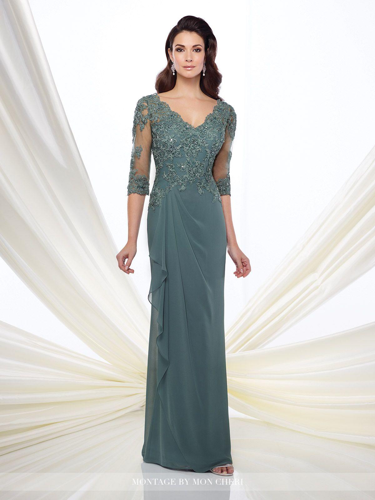 Three Quarter Sleeve Lace Panel Chiffon Dress