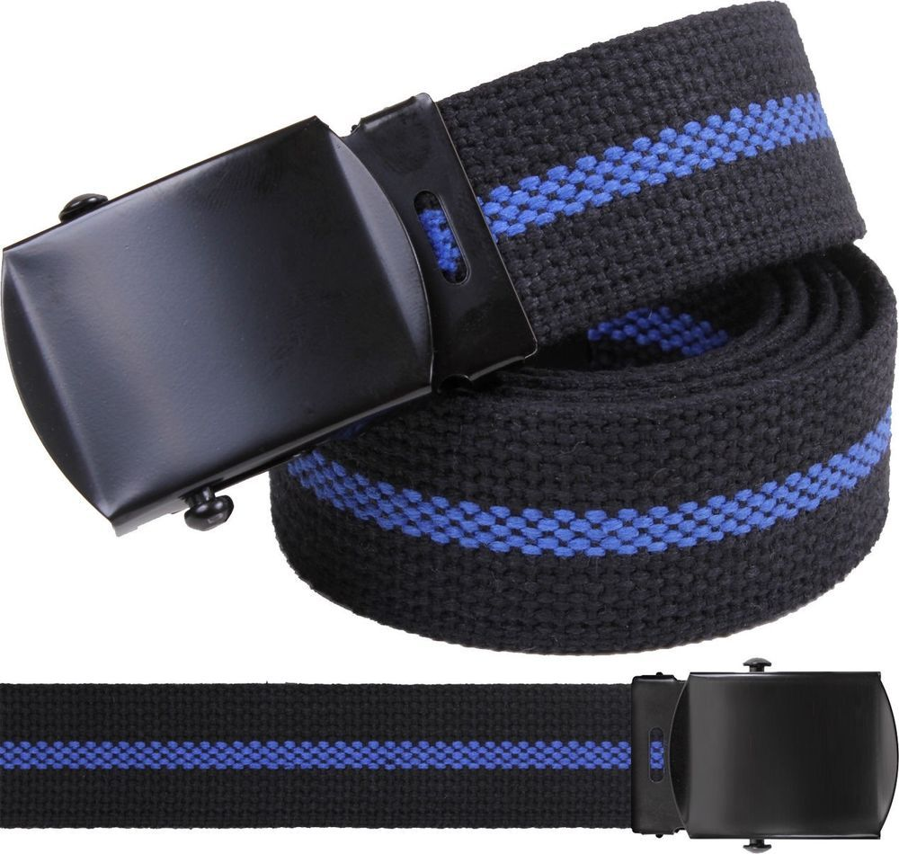 Black Law Enforcement Thin Blue Line Support The Police Web Belt w  Black  Buckle   3f479f8c07d