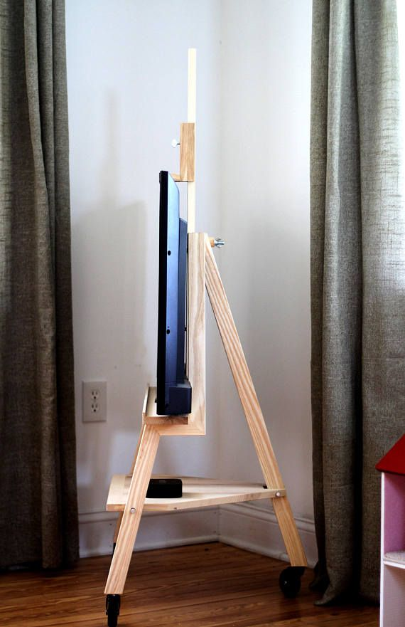 New Straight Tv Stand Easel Solid Ash Etsy Easel Tv Stand Tv Stand Easel