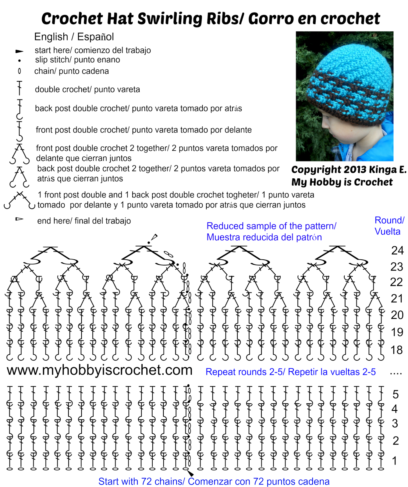 Crochet Hat Swirling Ribs Charted Pattern/Grafico gorro en crochet ...
