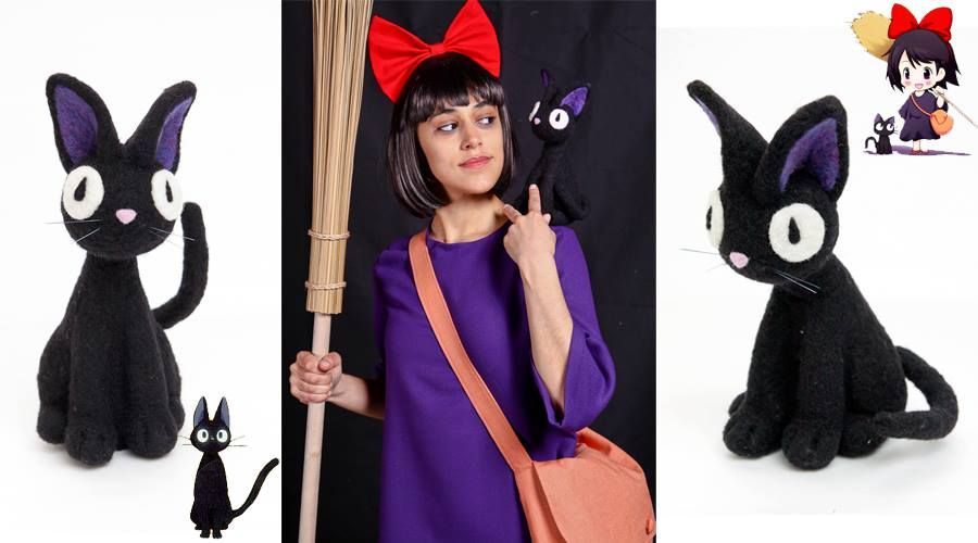 """Needle felted black cat costume pal! Great design keeps kitty in place, """"hands free""""! Felted by Amanda Irwin."""
