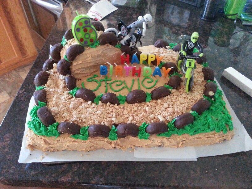 Dirt Bike Birthday Cake 9x13 Pan For Base Then Cut A 8x8 Round Cake