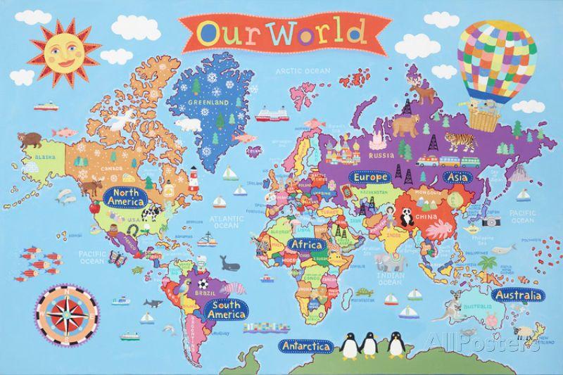 North Carolina World Map.Kid S Laminated World Map Laminated Poster Print 36x24 World Maps
