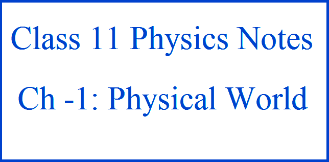 physics chapter 2 class 11 notes
