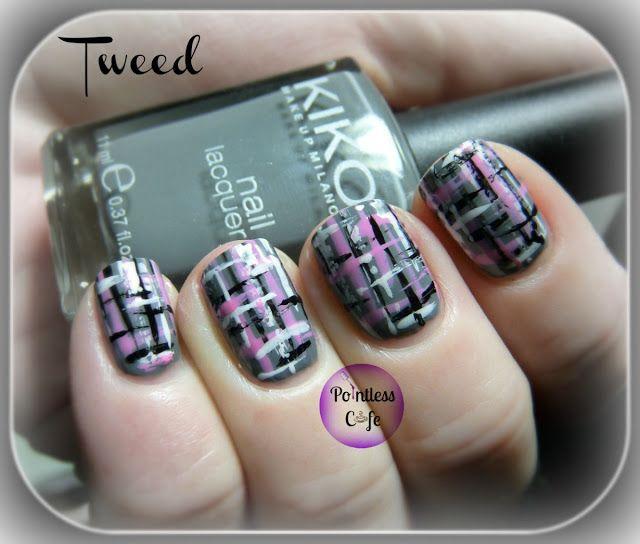 Tweed Nail Art Pointless Cafe Pointlesscafe Nails Pinterest