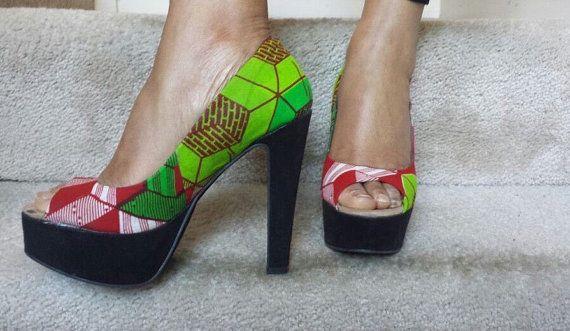 a672b8a549f80 Platform heels,Ankara Heels, African Print Shoes, Women's Heels ...