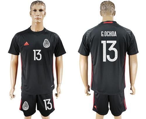 2017-2018 Mexico  13 G.Ochoa Black Goalkeeper Soccer Country Jersey ... 1e6d267ce