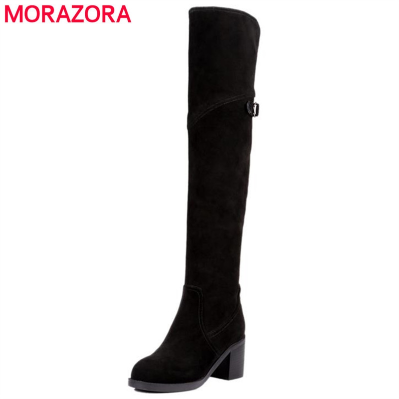 71.24$  Watch now - http://alicbl.worldwells.pw/go.php?t=32717599155 - Office lady buckle nubuck leather over the knee boots square high heel zip fashion elegant winter boots cow suede women shoes 71.24$