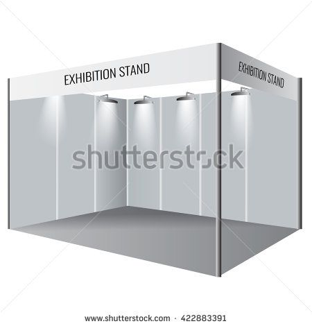 Exhibition Stall Mockup : Illustrated unique creative exhibition stand display design. booth