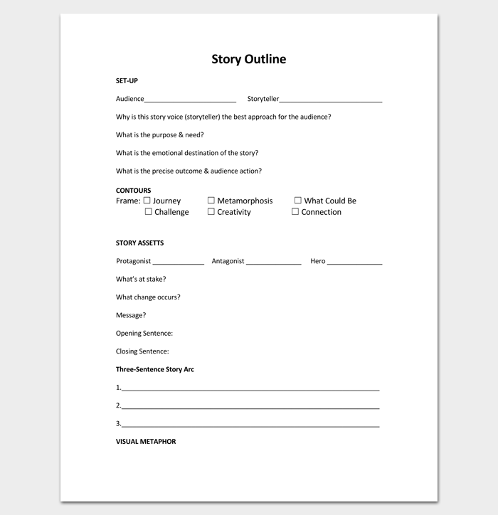 Story Outline Template Pdf Format  Outline Templates  Create A