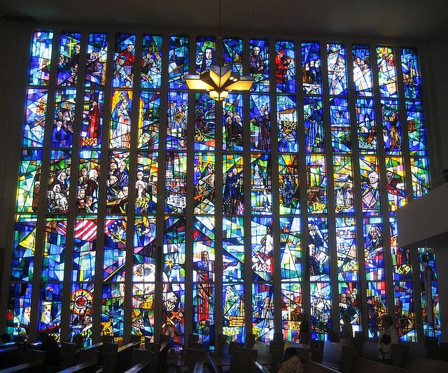 The worlds largest stained glass window at Resurrection Cemetery in Illinois