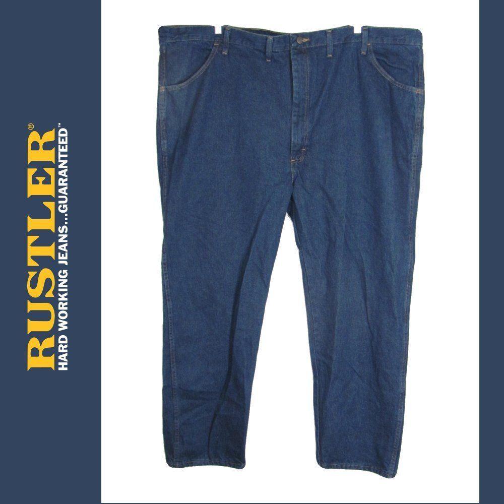 72b48f06 Rustler Jeans Mens 50 x 30 Blue Denim Cotton Stonewashed Straight No  Stretch New #Rustler #ClassicStraightLeg