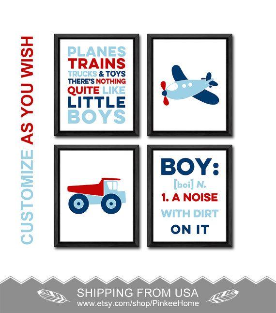 Plane Nursery Dump Truck Boys Room Decor Airplane Boy Nursery Boy