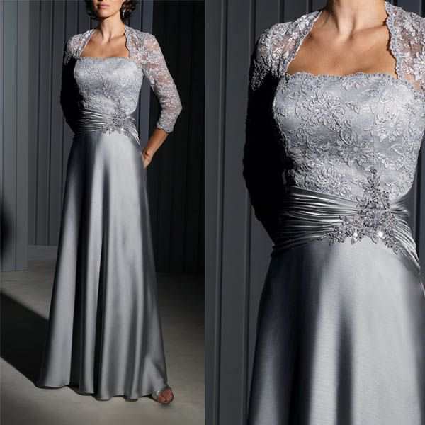 Strapless silver gray satin lace applique beaded mother of for Silver satin wedding dress