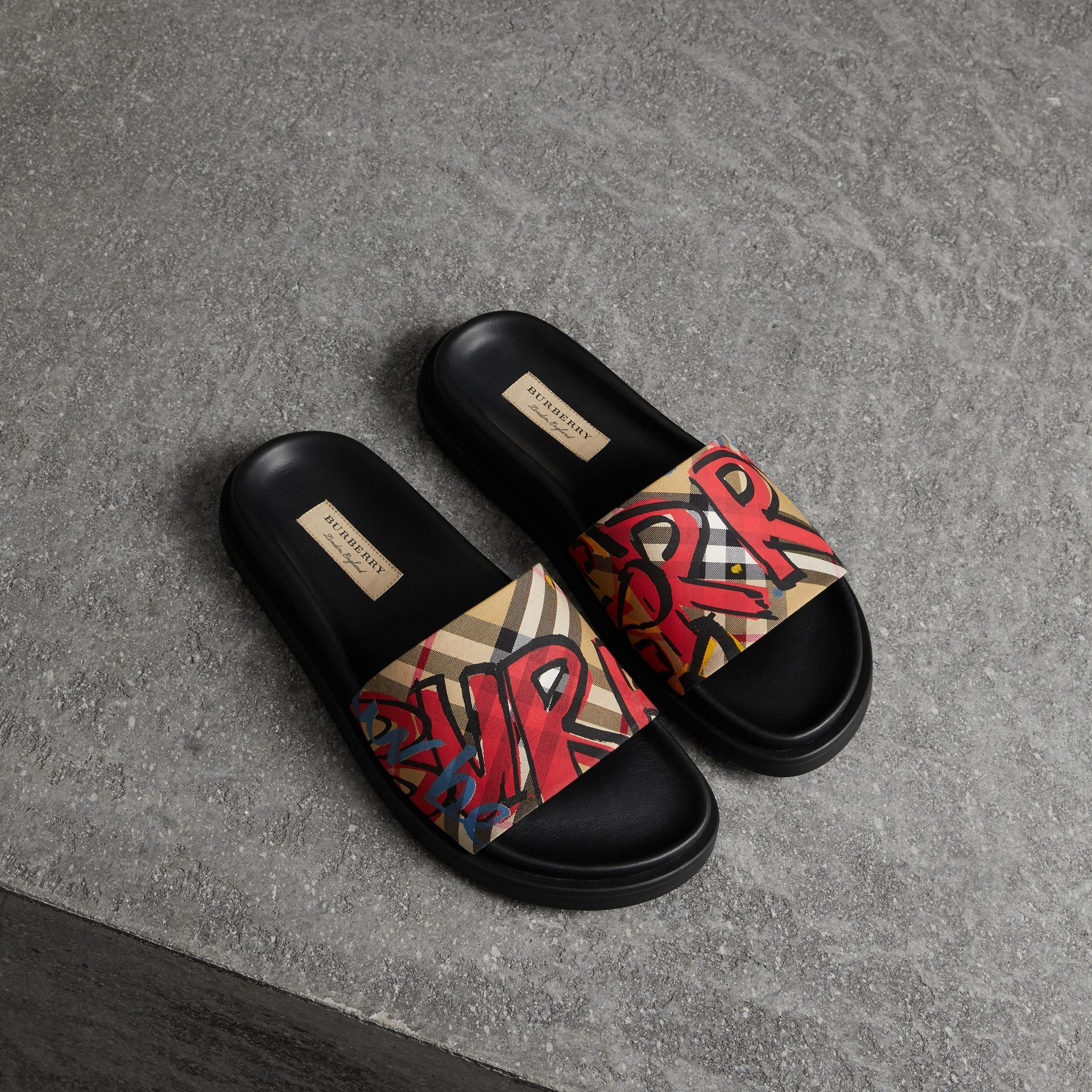 5f3ec7fd529e4 BURBERRY Graffiti Print Vintage Check and Leather Slides.  burberry  shoes