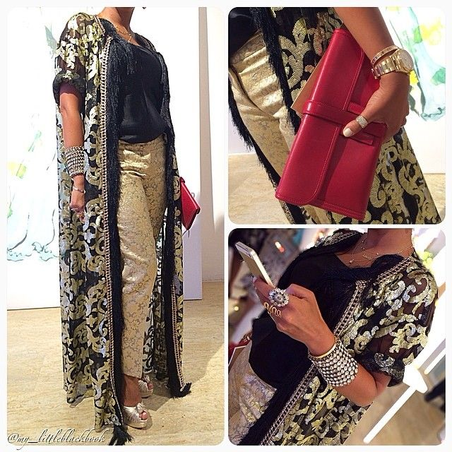 Full look❤️ Gold embroidered bisht by Modalinia, Hermes clutch, and Louboutin knot pumps ✨ #Padgram