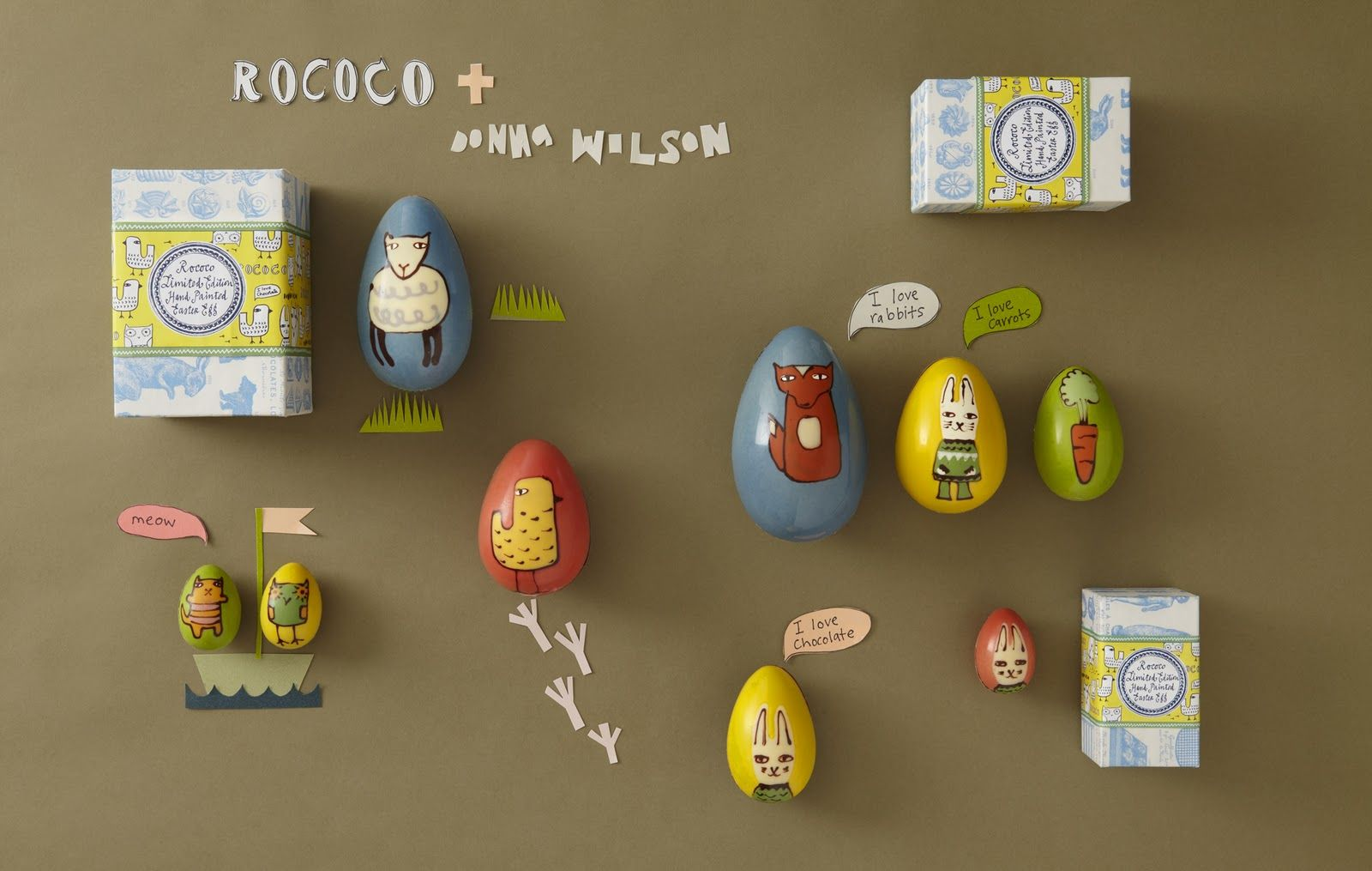 Easter Eggs Collection from Rococo Chocolate. Really love their designs. http://blog.rococochocolates.com/2012/wee-finds-5-brilliant-new-things-im-loving-for-easter-wee-birdy/