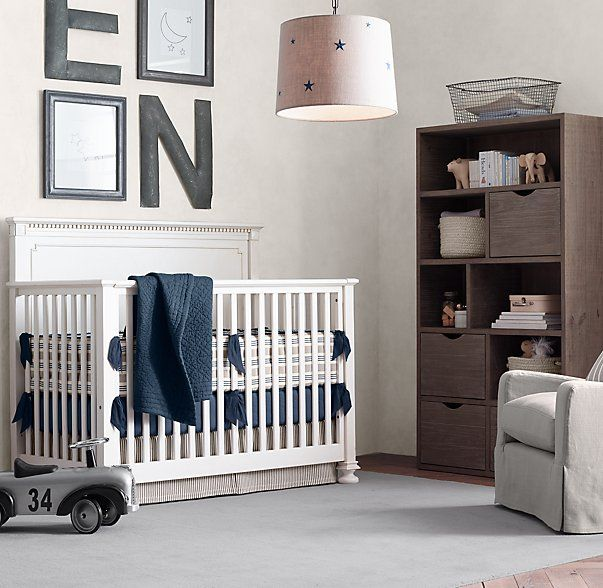 RH baby&child's Jameson Conversion Crib:Our Jameson collection pays homage to turn-of-the-century design, with classic architectural detailing, rustic cast-metal hardware and bun feet.