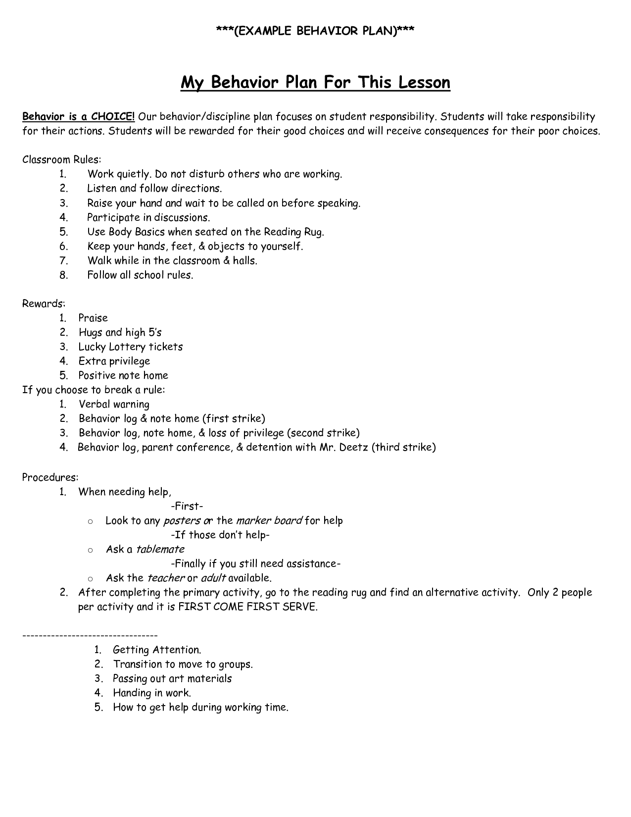 Behavior Intervention Plan Example Behavior Plan My Behavior Plan