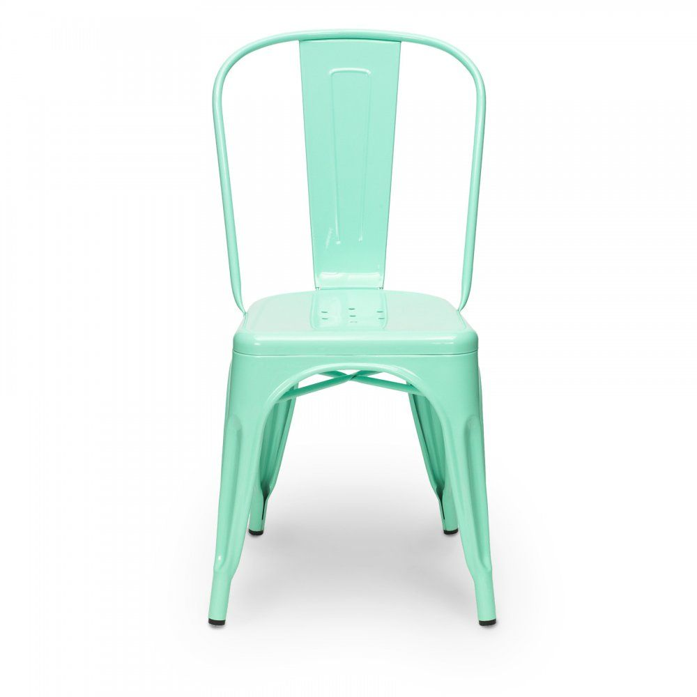 Xavier pauchard peppermint green powder coated side chair cafe furniture iron furniture patio furniture