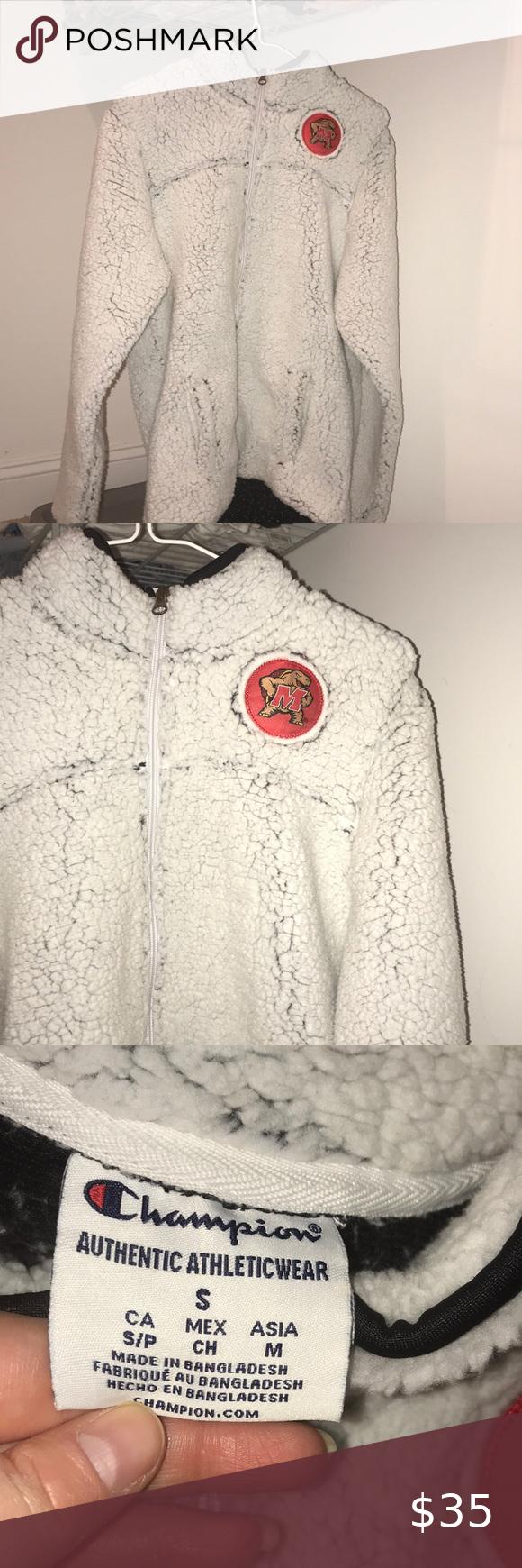 Champion Maryland Sherpa Like Jacket In Excellent Condition Champion Jackets Coats Coats Jackets Women Champion Hoodie Women Fashion [ 1740 x 580 Pixel ]