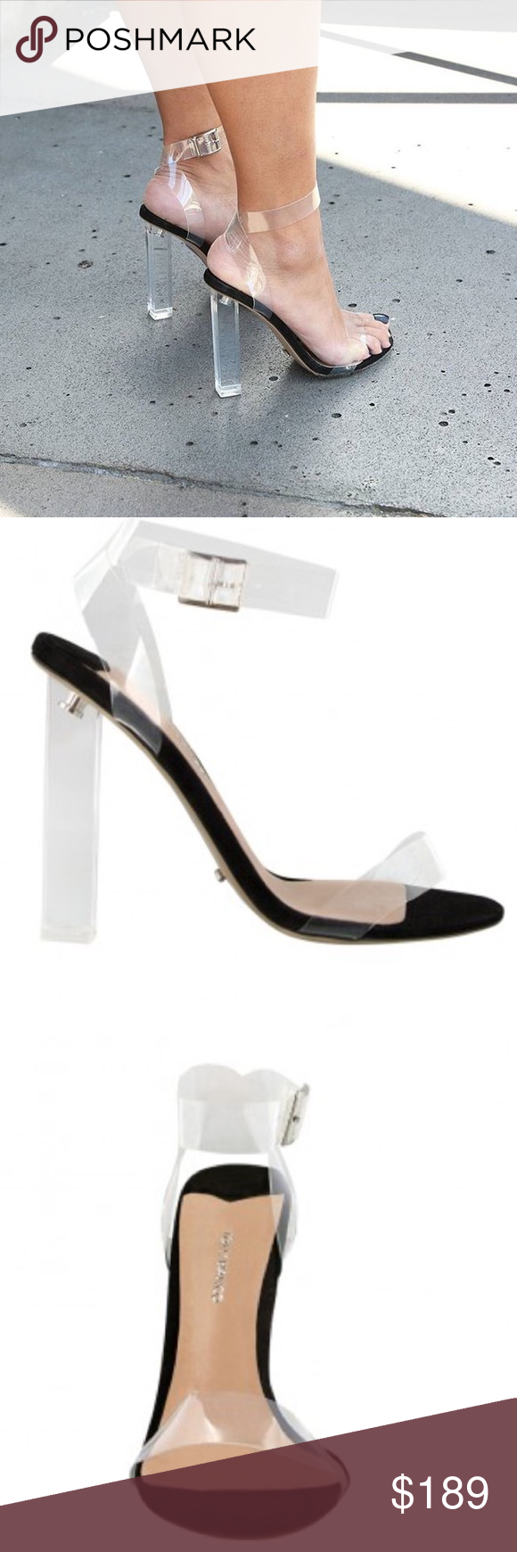 25524417e00 Tony Bianco KiKi sandals with clear heel A black suede and clear ...