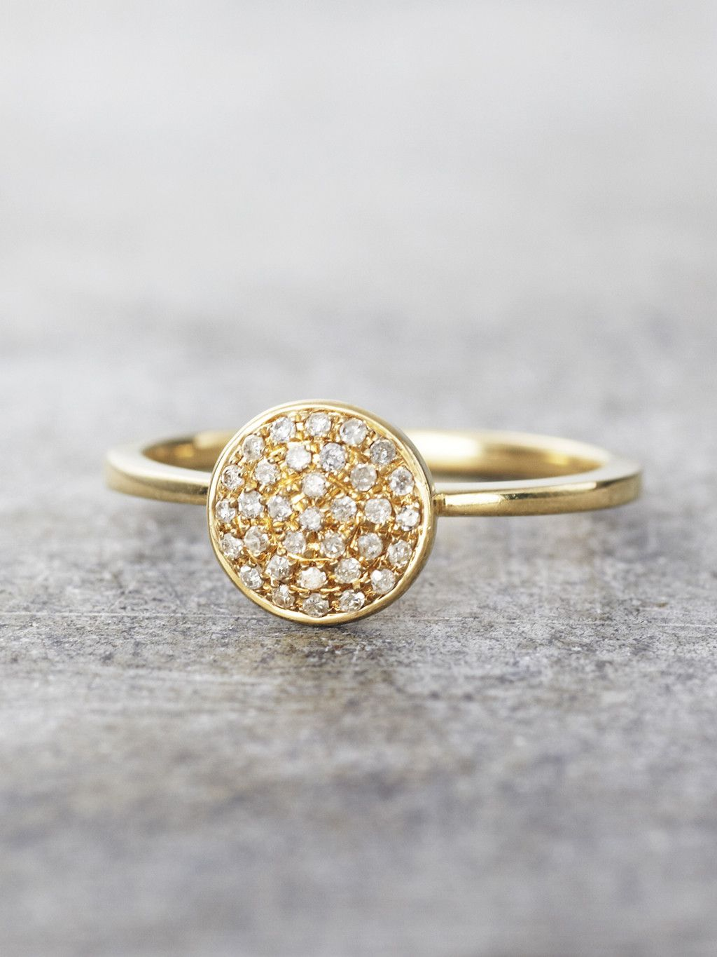 Detailed With 33 Sparkling Pave Set Diamonds This Shining 14k Gold Disk Is Upon A Matching Band To Create Ring That An Instant Clic