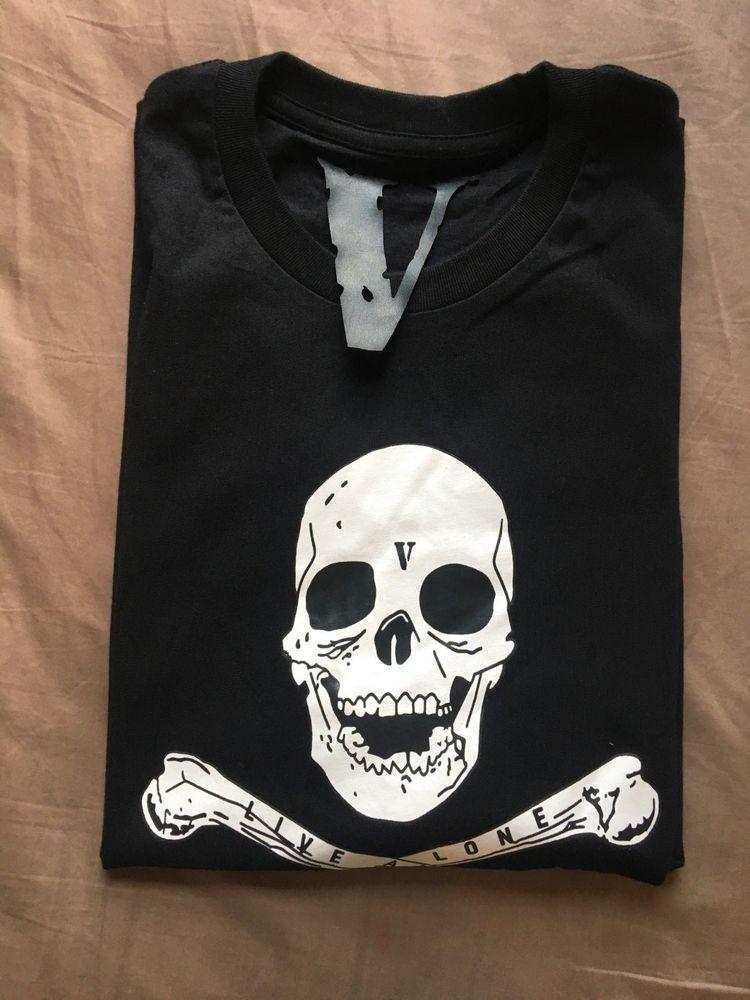 37687a67dfef45 Vlone  Skulls and Bones  Black T-shirt  fashion  clothing  shoes   accessories  mensclothing  shirts (ebay link)