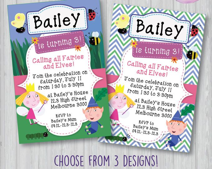 Customized Ben and Hollyu0027s Little Kingdom Digital Printable Birthday - invitation to a party
