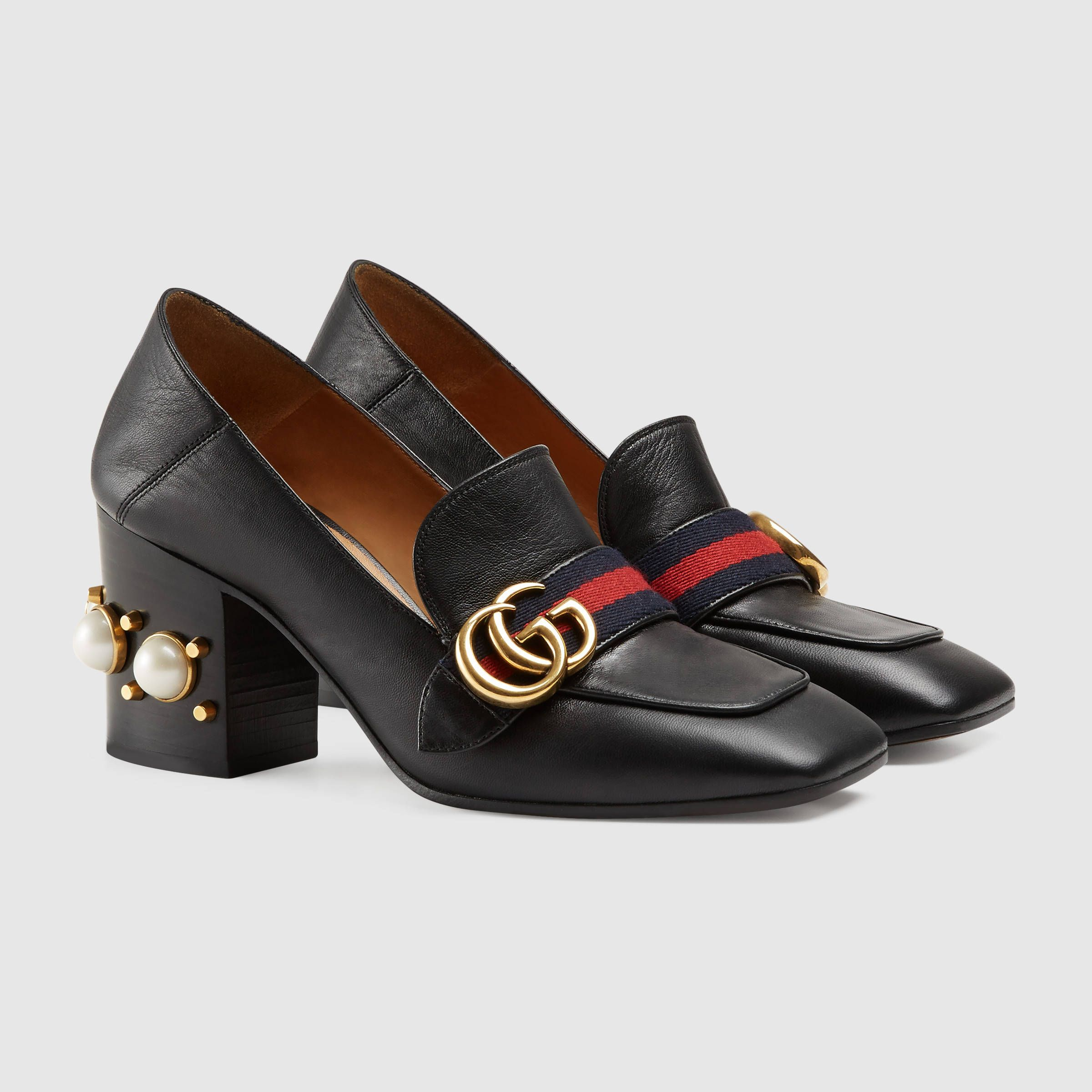 4216651bd Gucci Women - Leather Black Mid-Heel Loafers - (Also available in Red &