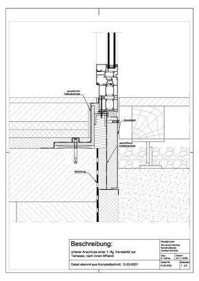 e 02 0002 unterer anschluss einer 1 flg fenstert r zur terrasse nach innen ffnend drawing. Black Bedroom Furniture Sets. Home Design Ideas