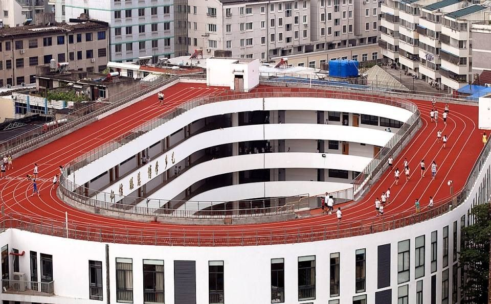 rooftop of the school in China
