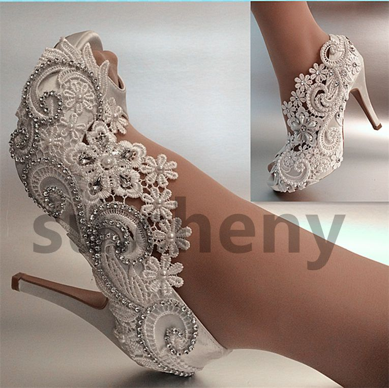 Details About Su Cheny 3 4 Heel Satin White Ivory Lace Pearls