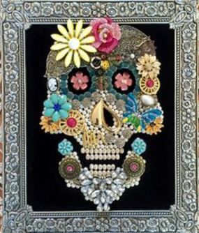 Vintage Day of the Dead Sugar Skull Inspired Rhinestone Jeweled  Collage Art * Brooches, Pins, Earrings, Bits & Baubles * DIY Inspiration * Perfect fun wall decor!