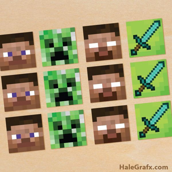 free printable minecraft cupcake toppers video games pinterest. Black Bedroom Furniture Sets. Home Design Ideas