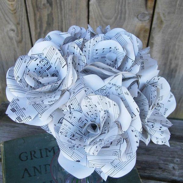 Bouquet of Handmade Sheet Music Paper Flower Roses www.wearedcrafts.co.uk