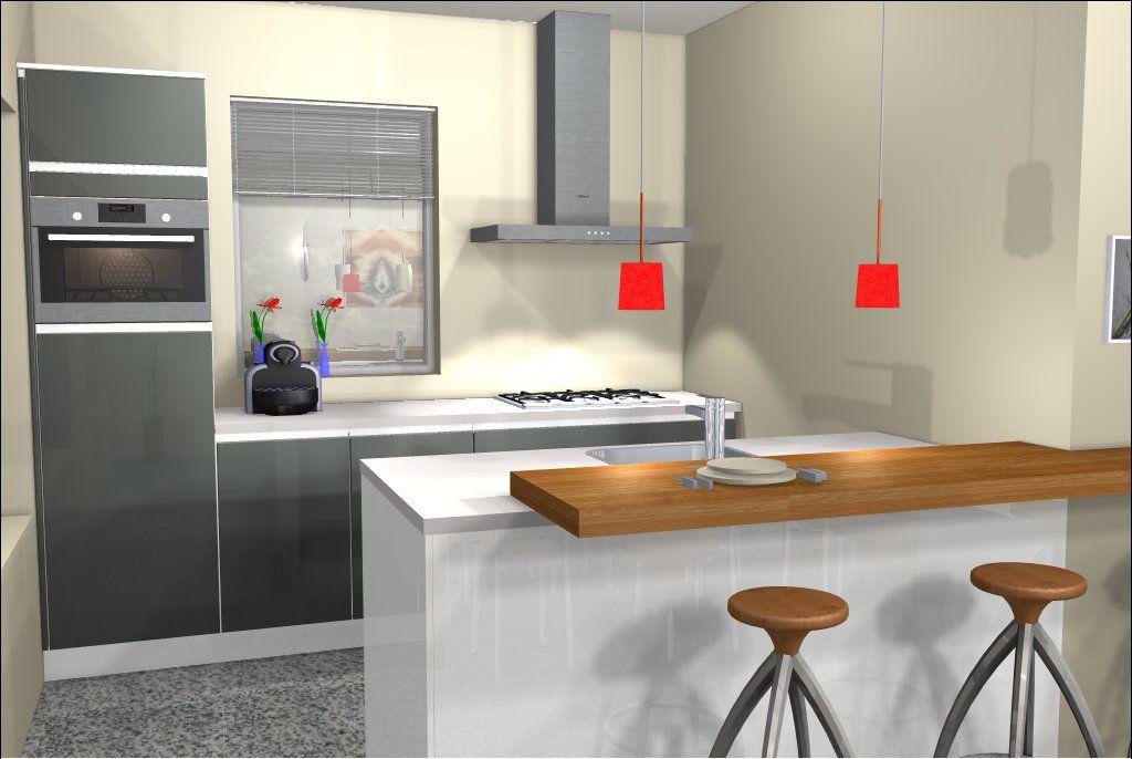 Ontwerp van keuken met kookeiland 3d keukenontwerpen pinterest small apartments and apartments - Keuken kookeiland ontwerp ...