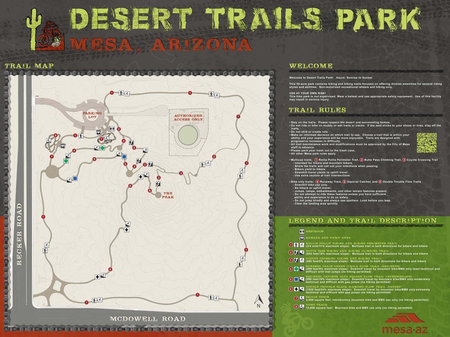 Desert Trails Park Map Map Mesa Az Trail Maps
