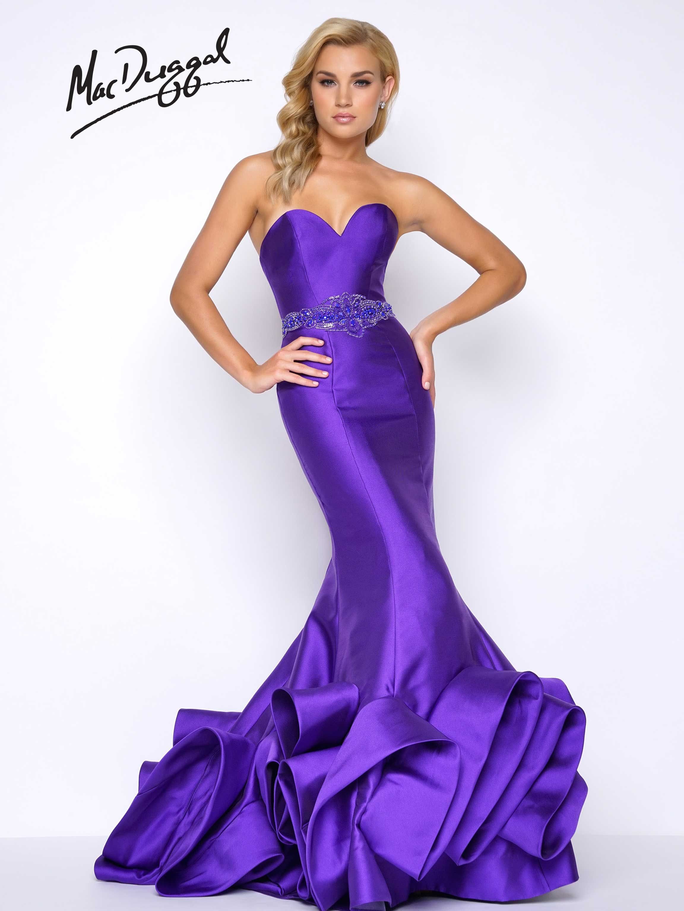 Royal Purple, strapless, sweetheart neckline, satin, ruffled mermaid ...