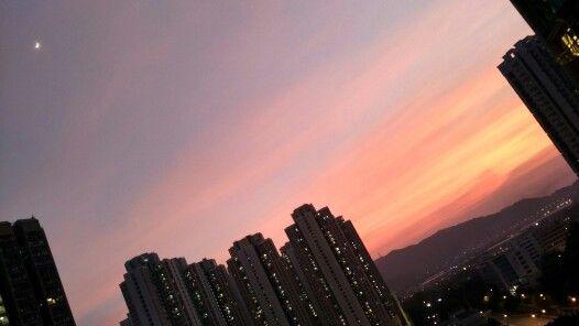 秋の夕焼け、きれいなー