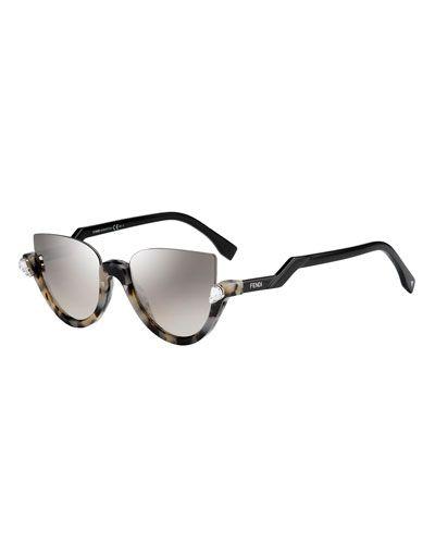 e18d7f85e5 D12LT Fendi Blink Half-Rim Crystal Cat-Eye Sunglasses